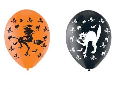 CHEAP Halloween Witch & Black Cat Halloween Balloons black orange Helium or Air  - Halloween Balloons Cheap