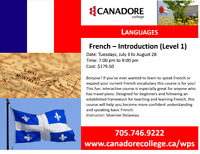 Introduction to French, Canadore College, Parry Sound