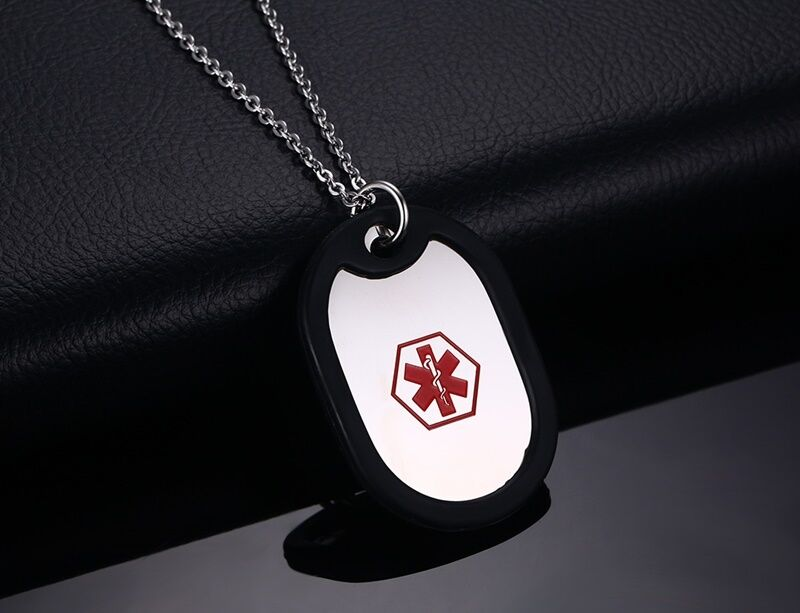 Medical Alert ID Name Necklace ICE Dog Tag Pandent Diabetes