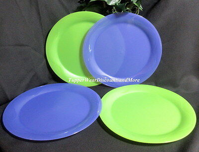 Tupperware NEW Plate SET 4 OPEN HOUSE Dinner Round PLATES Green & Lupine Purple