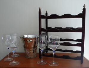 Mikasa Wine glasses, Wine Rack & Wine bucket