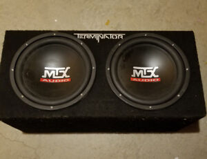 2 12 inch MTX TERMINATOR subs in a sealed box.