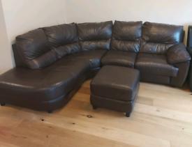 Large DFS leather corner sofa