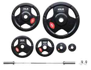 New Rubber Plates, Olympic Bar, Curl Bar & Collars for Sale