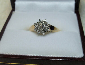 "10k yellow gold "" Round Diamond Cluster"" Engagement Ring"