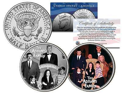 THE ADDAMS FAMILY * TV SHOW * Colorized JFK Half Dollar 2-Coin Set Fester Lurch Addams Family-tv