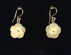 Beautiful Silver and Mother-of-Pearl Floral Earrings