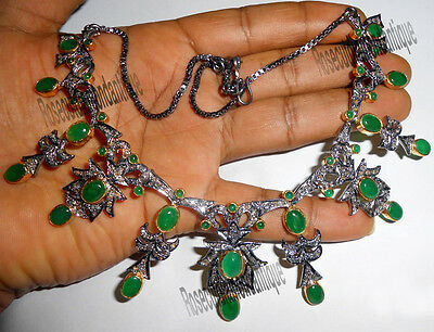 12.35ct ANTIQUE ROSE CUT DIAMOND EMERALD VICTORIAN DESIGN NECKLACE SET JEWELRY