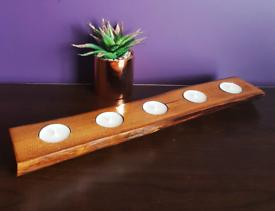 Set of 2 Bespoke handmade log tealight holder.