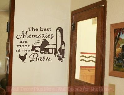 Farm Home Decor (Best Memories Made In Barn Farm Wall Decor Quote Vinyl Art Decals for Home Decor)