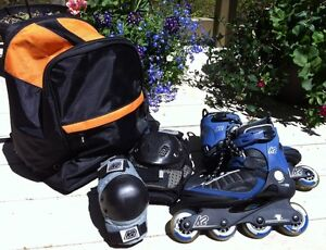 Inline Skates / Rollerblades US 8 with PROTECTION gear and BAG
