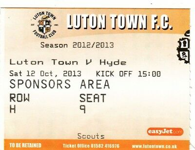 Ticket - Luton Town v Hyde 12.10.13