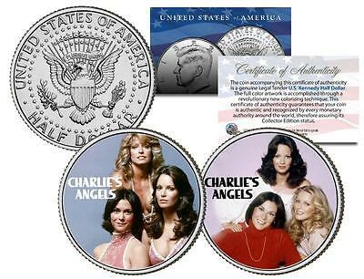 CHARLIE'S ANGELS * TV SHOW * Colorized JFK Half Dollar 2-Coin Set Jaclyn Smith