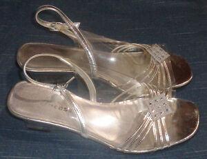 Woman's Silver Open Toe Dress Shoes Size: 9