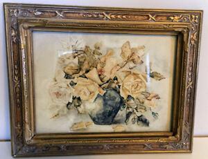 Vintage Floral Art Painting w/ Ornate Gold Frame Antique