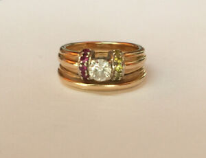 Ladies Gold Engagement / Wedding Ring with Topaz and Rubies
