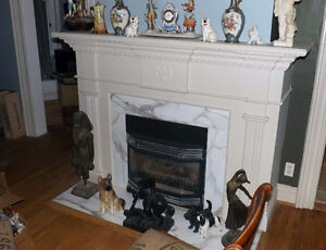 White stone fireplace Mantle and surround from Century Home. London Ontario image 3