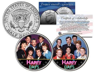 HAPPY DAYS * TV SHOW * Colorized JFK Half Dollar US 2-Coin Set Ron Howard Chachi