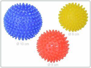 Igelball Igel-Ball Noppenball Massageball 3er-Set (blau - rot - gelb)