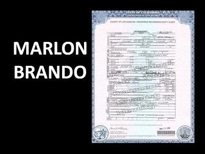 Marlon Brando DEATH CERTIFICATE Research Document Godfather Best Actor Oscar