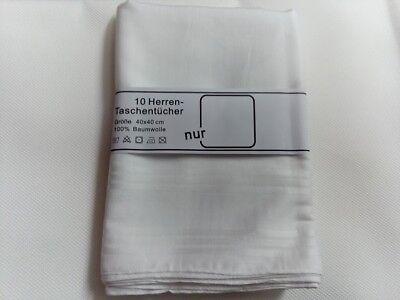 10 Stück Herren Taschentücher 40x40cm 100 % Baumwolle Weiß Stofftaschentücher