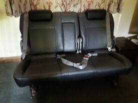 Van Seat Leather 3 seater VW or other with belts and rails