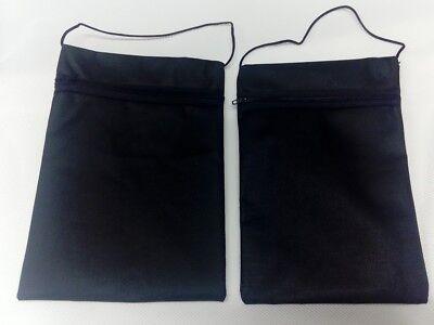 2 Stück Brustbeutel Brusttasche Schwarz Geldbeutel Umhängetasche mit Kordelband