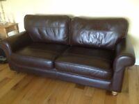 Dark brown, leather, John Lewis 2 piece suite
