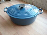 LE CREUSET LARGE CASSEROLE DISH AND FRYING PAN Cast Iron, in Blue