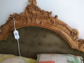 Headboard, hand-carved from walnut