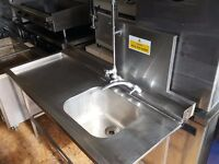 1.5m Single Bowl Stainless Steel Commercial Sink Spray arm and Taps