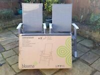 New Boxed Blooma Shrewsbury recliner garden chairs X 2