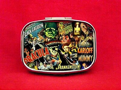 (MONSTER CLASSIC HORROR DRACULA WOLFMAN MUMMY METAL PILL MINT BOX CASE)