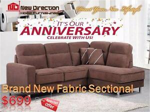 Anniversary Sale-Brand New 2 PCs Fabric Sectional on Sale@New Direction Home Furnishings