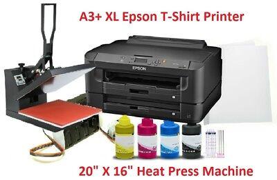 Sublimation Printer 7210 T-shirt Press Bundle Kit 16x20 Heat Presspaperink