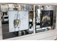 Champagne glasses pictures with crystals, liquid art & mirror frames