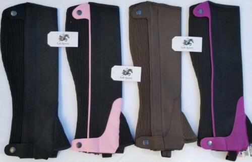 HALF CHAPS HORSE RIDING EQUESTRIAN ADULT S/M/L/XL AMARA BLACK-BROWN-PINK-PURPLE