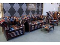 NEW Chesterfield 3 Seater Sofa Wing Back Chair Club Chair Harlequin Leather - UK Delivery