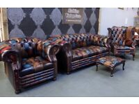 NEW Chesterfield Harlequin Suite 3 Seater Sofa, Club & Wing Back Chair Antique Leather UK Delivery