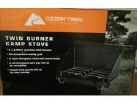 Camping stove twin burner