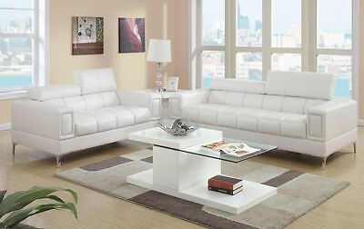 2 Pc Modern White Bonded Leather Sofa Couch Loveseat Set Living Room Furniture