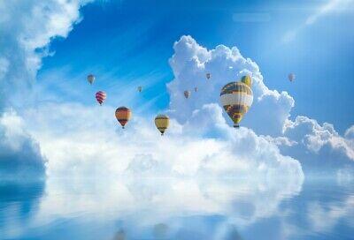 Hot Air Balloon Prop (7x5ft Blue Sky Backdrop Hot-air Balloon Background Studio Photography Prop)