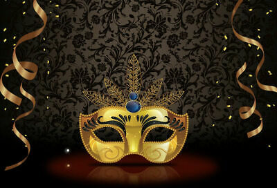 7x5ft Golden Mask Backdrop Birthday Party Background Studio Vinyl Photography - Masquerade Backdrop