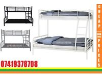 Trio Sleeper Metal Bunk Frame and Mattresses available/ Bedding