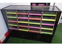 Shop display cabinet vintage haberdashery cupboard 20 drawers bright neon collection E8 EBQ