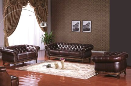 Chesterfield 3 Piece Chestnut Brown Suite with FREE DELIVERY Sydney City Inner Sydney Preview