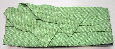 Vineyard Vines Silk Bow Tie And Cummerbund Set Green Rope Outline Pattern -