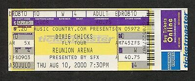 Dixie Chicks 2000 Unused Full concert ticket Dallas Texas Fly Tour