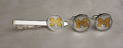 - Michigan Wolverines Tie Clip and Cufflink Set Made From Football Trading Cards