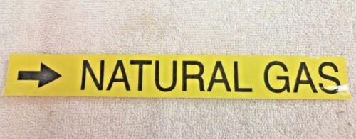 """Natural Gas Sticker with Directional Arrow, 8"""" x 1-1/8"""" Yellow & Black"""